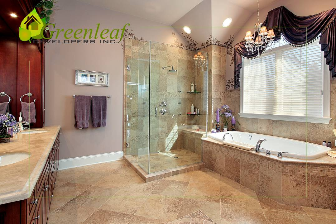 Dewes House master bathroom / additions and new homes in Glenview by Greenleaf Developers