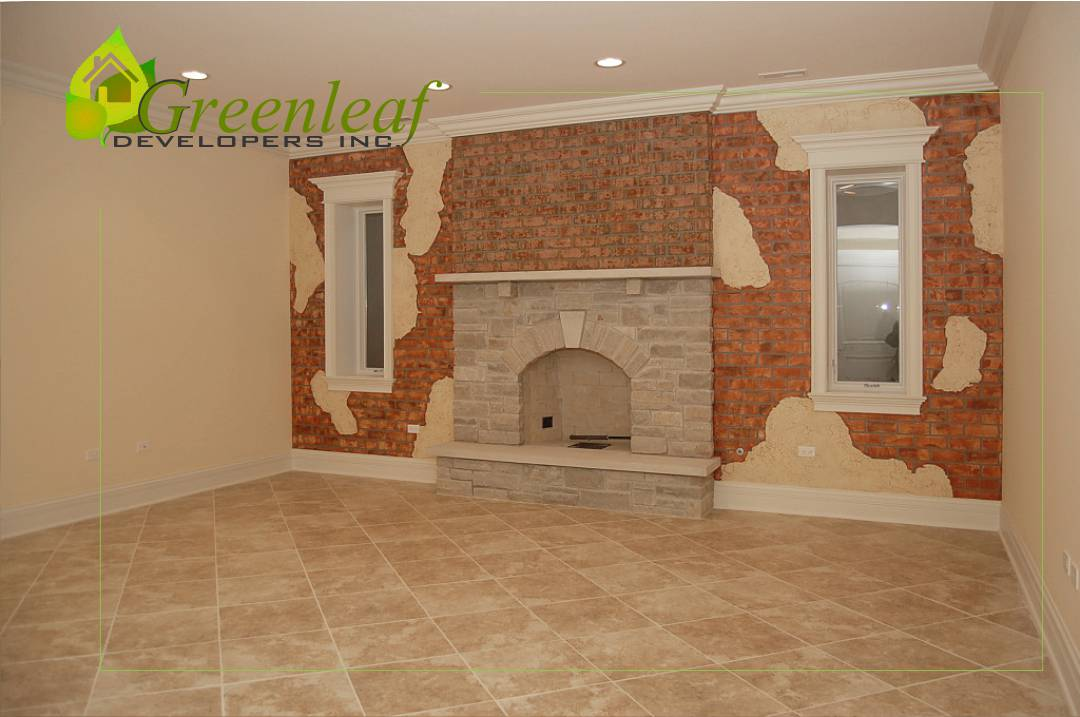 Robincrest house fireplace, additions, new homes, Greenleaf Developers Glenview