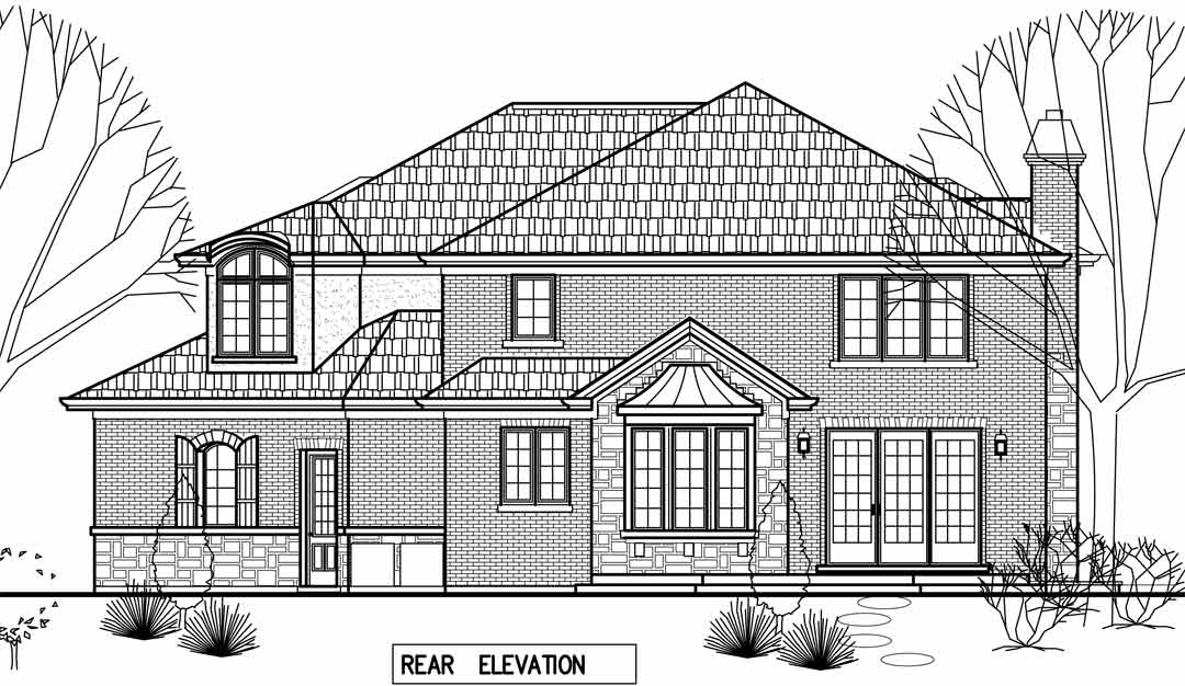 rear elevation draft / additions and new homes in Glenview by Greenleaf Developers