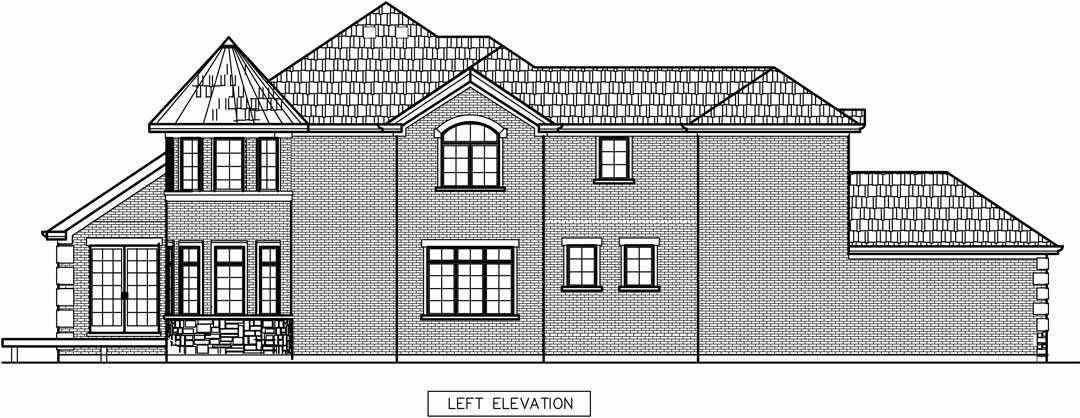 New Dewes Street House in Glenview left elevation draft / additions and new homes in Glenview by Greenleaf Developers