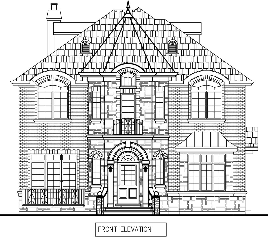 New Two story house in Winnetka front elevation plan draft / additions and new homes in Glenview by Greenleaf Developers