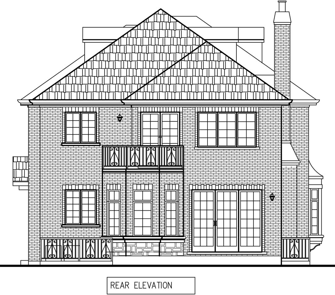 New Two story house in Winnetka rear elevation plan draft / additions and new homes in Glenview by Greenleaf Developers